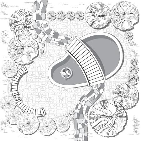 garden furniture: Plan of garden with pool, bridge, stones pathway, decorative plant and furniture symbols. Dendroplan  black and white. Illustration