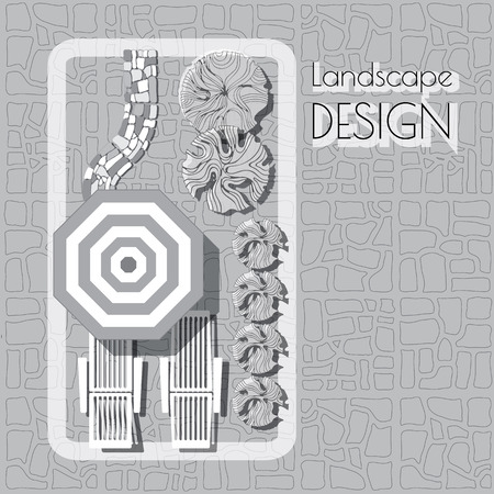 garden patio: Plan of garden with furniture symbols, stones pathway, decorative plant and words Landscape design.  Patio with lounge, umbrella  grey and white on paved background.