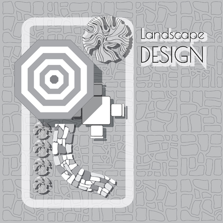 patio furniture: Plan of garden with furniture symbols, stones pathway, decorative plant and words Landscape design.  Patio with garden chairs and table, umbrella  grey and white on paved background. Illustration