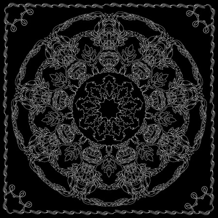 neck wear: Black and white bandana square pattern design for print on fabric. Kerchief or neck scarf style. Mandala vector illustration with contoured branches, flowers, leaves and floral ethnic abstract decorative elements.