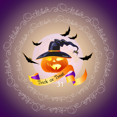 october 31: Halloween vector card. Halloween night background with full Moon, pumpkin, hat, bats and words Trick or Treat, October 31.