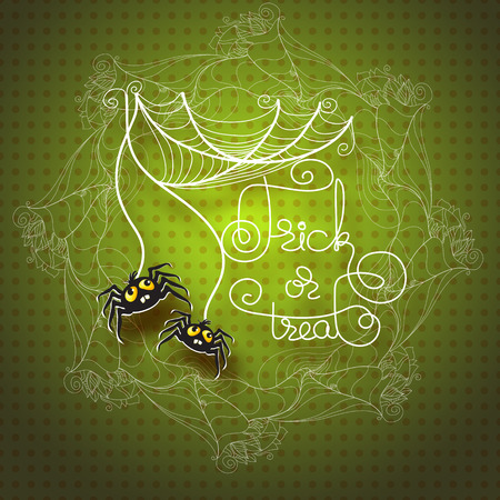 cobwebs: Halloween vector greeting card with spiders, cobwebs  and handwritten words Trick or Treat on green background.