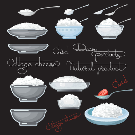 cottage cheese: Vector illustration with cottage cheese, strawberry, spoons, plate and glass bowl, on black background. Illustration