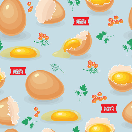 Seamless pattern with eggs, eggshells, yolks, caviar and parsley leaves on blue background. Ilustração