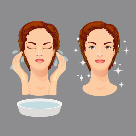 woman washing face: Vector illustration of beautiful woman washing her face. Isolated on grey background.