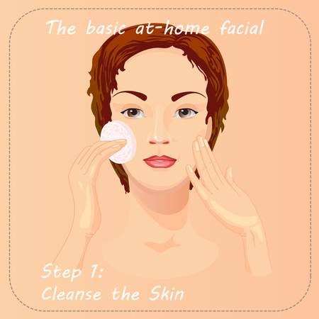 woman hygiene protection: Young woman cares and protects her face with cleanse the skin. Beauty facial procedure vector illustration. Face care with lotion. Illustration