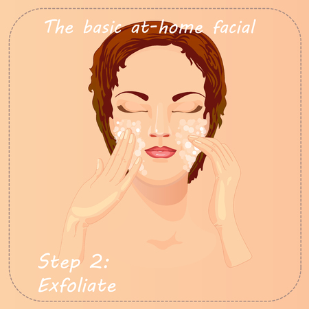 scrub: Young woman cares and protects her face with exfoliate. Beauty facial procedure vector illustration. Face care with scrub. Illustration