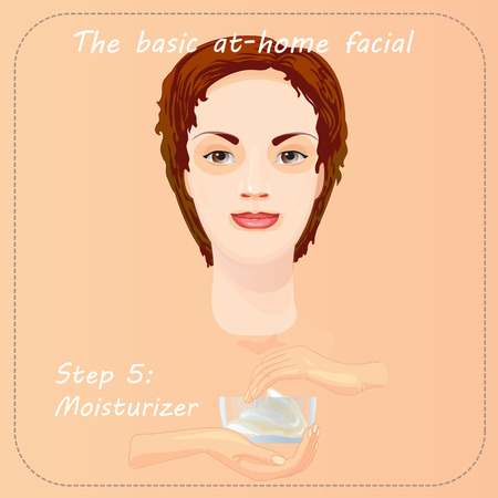 cleansing: Young woman cares and protects her face with moisturizer. Beauty facial procedure vector illustration. Face care with cream. Illustration
