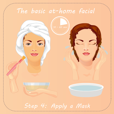Young woman cares and protects her face with mask. Beauty facial procedure vector illustration. Face care.