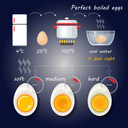 How to make perfect boiled eggs. Vector illustration with egg infographics.