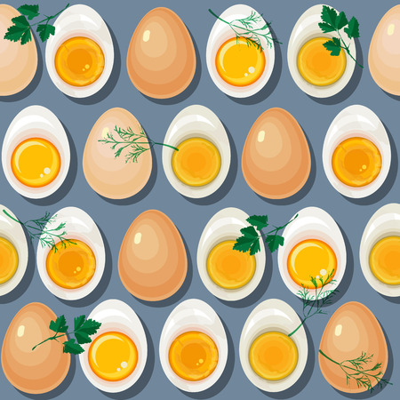 Seamless pattern with eggs,  yolks  and parsley leaves on blue background.