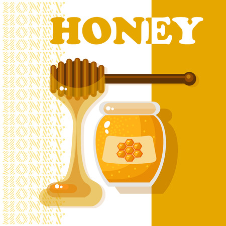 wooden stick: Vector illustration with glass jar full of honey and wooden stick on white background.  Natural delicious healthy nutrition golden honey. Sweet food vector.