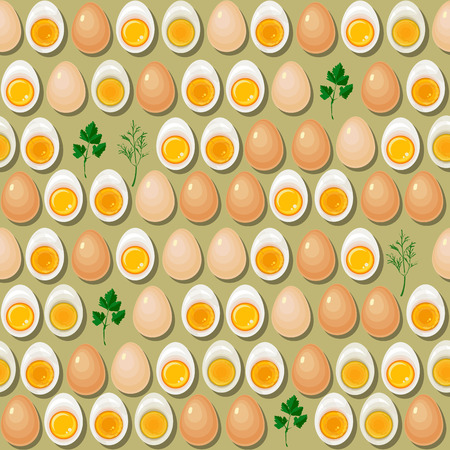 albumin: Seamless pattern with eggs,  yolks  and parsley leaves on light background.