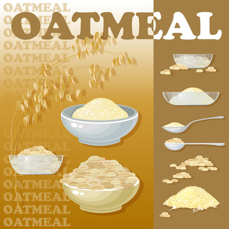 oat: Vector illustration with oat porridge and grain. Oatmeal. A bowls of cereal. Healthy food.