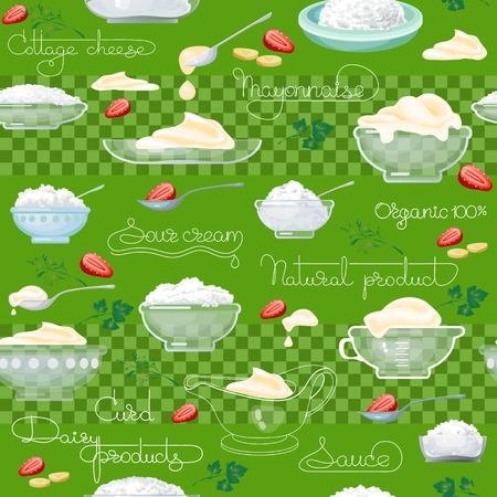 sour: Cottage cheese, sour cream  and  handwritten words seamless pattern. Vector background.  Food image. Hand drawn illustration for your wallpaper, textile, fabric or wrapping paper. Illustration