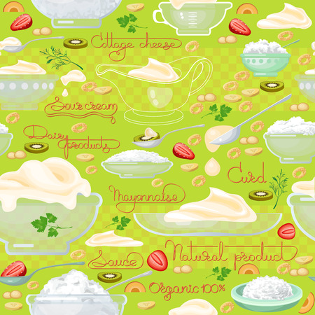 cottage cheese: Cottage cheese, sour cream  and  handwritten words seamless pattern. Vector background.  Food image. Hand drawn illustration for your wallpaper, textile, fabric or wrapping paper. Illustration