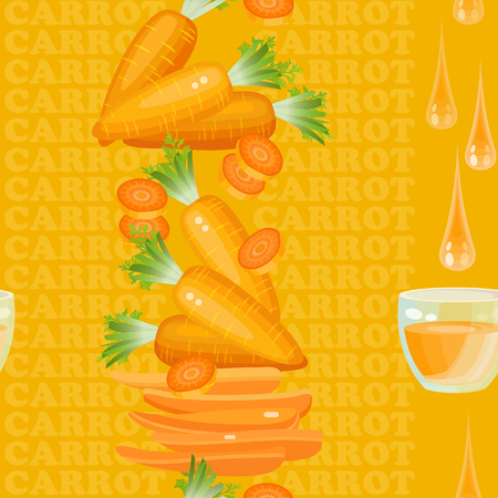 carrot juice: Seamless texture with carrot, glass, drop juice and slices on orange background. Vector illustration.  Floral texture with natural elements and words Carrot.
