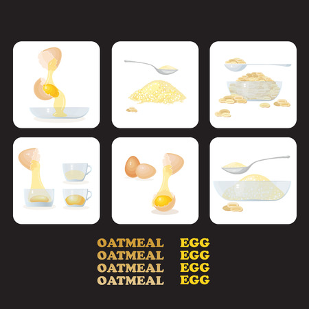 oat: Vector illustration with icons eggs, yolks, white, eggshells and glass bowls, oat porridge, grain. Healthy food. Egg  and oatmeal set.
