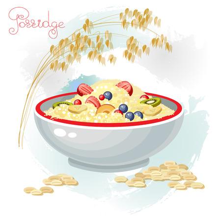 죽과 흰색 배경에 고립 된 그릇에 과일의 벡터 일러스트 레이 션. 죽 아침 건강 식품 및 접시 저녁 식사입니다. 귀리 귀와 곡물.
