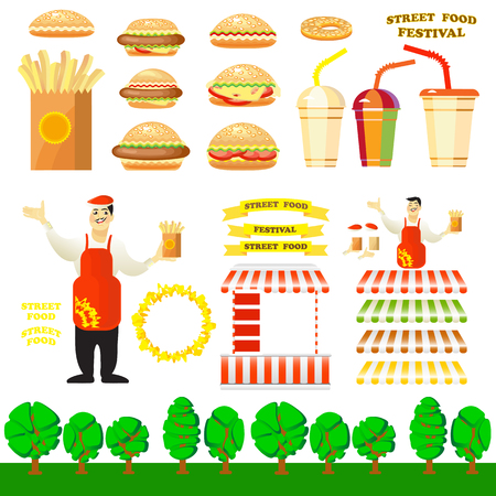 commercial tree service: Set of fast food objects for your design. Vector design elements for a Street Food Festival. Vector illustration of burger street cart with seller, hamburger, potato fries, hot dog, drink.
