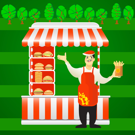 career fair: Vector illustration of burger street cart with seller on green background. Fast food card. Use this picture for invitation, announcement, poster, flyer, catering, web, leaflet, banner, template.