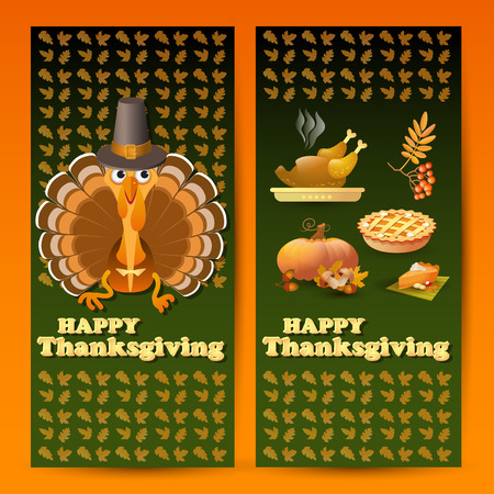 gobble: Vector illustration with autumn and Thanksgiving food and symbols on green background. Includes pumpkin, leaf, rowan, pilgrim hat, pie, roast turkey and text Happy Thanksgiving.