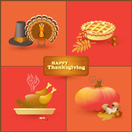 pilgrim hat: Vector set of colorful cartoon elements for Thanksgiving day.   Collection with autumn and thanksgiving food and symbols isolated on white background. Includes pumpkin, leaf, rowan, acorn, mushroom, pilgrim hat, pie, roast turkey.