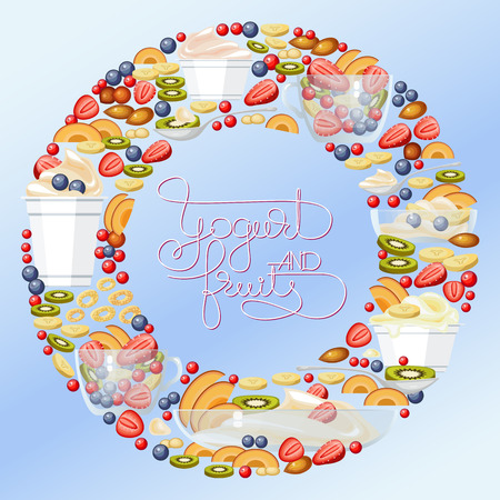 blue berry: Vector yogurt, fruit and berry round banner with handwritten words, spoons, cup and glass bowl on blue background. Health care products.