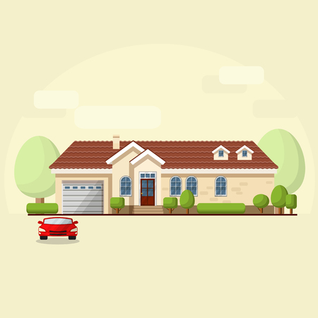 domestic garage: Vector illustration of house facade, car and trees on light  background.