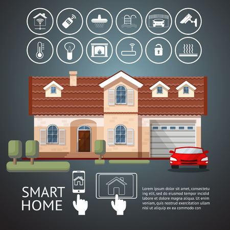 facade and house: Smart home infographic with facade house and icons technology system. Flat design style vector illustration concept of smart house  with centralized control..