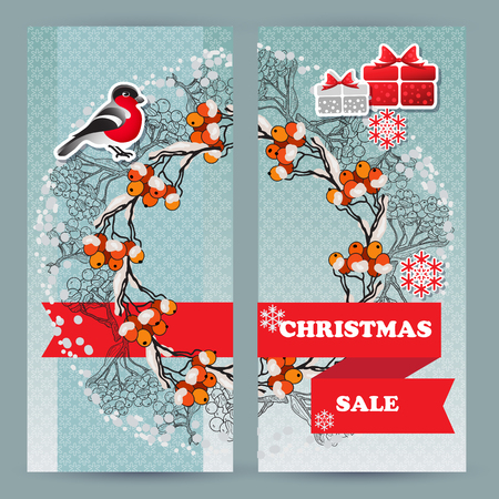 Vector  winter sale leaflets. Include bullfinch, gift, snowflake, rowan branch and words Christmas Sale.  Template for your design. Illustration