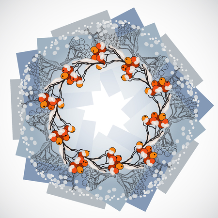 Vector illustration of round wreath with rowan branches and berries. Winter Christmas card. Rowanberry in the snow. Template for your design.