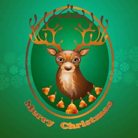 Christmas deer. Merry Christmas design. Seasons greeting card with reindeer and bells. Illustration