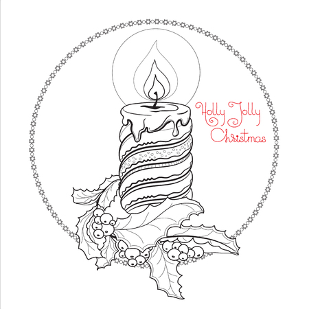 Hand drawn  pattern with Christmas candle, holly berry and handwritten words Holly Jolly Christmas. Vector  illustration in  zentangle style for  greeting card, poster.