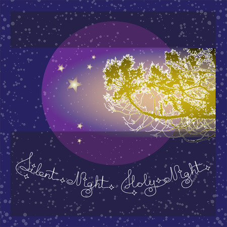 Handwritten text Silent Night Holy Night and branch on blue background. Typographic element with snow and stars. Vector illustration for seasonal christmas design.