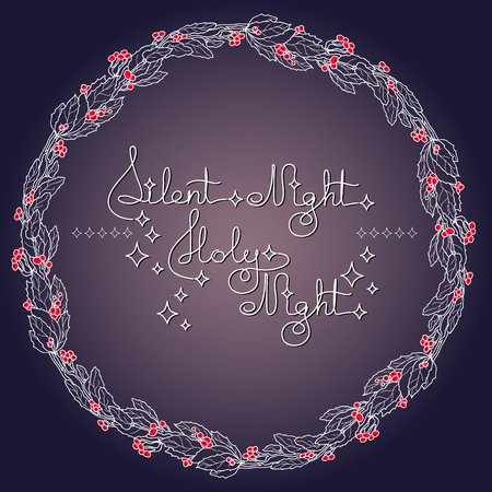 silent night: Handwritten text Silent Night Holy Night and holly wreath on blue background. Typographic element with snow and stars. Vector illustration for seasonal christmas design.