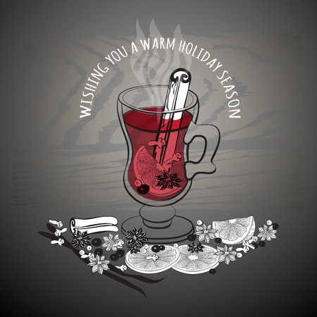 Christmas hot  mulled wine. Glass of drink and hand drawn ingredients on dark .  flat illustration for greeting card, invitation, banner, icon and poster. Illustration