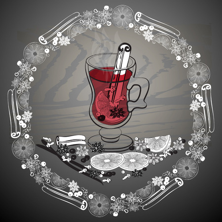 Christmas hot  mulled wine. Glass of drink and hand drawn ingredients on dark background. Vector flat illustration for greeting card, invitation, banner, icon and poster. Illustration