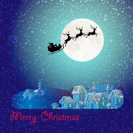 santa sleigh: Merry Christmas greeting card of  flying Santa Claus and deer black silhouettes, snow and big moon. Christmas houses in snowfall at the night. Winter