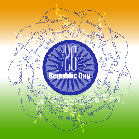 Ornamental poster Indian Republic Day with mandala.
