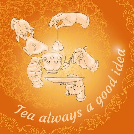 Cup, hands, cookies and words Tea always a good idea.