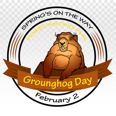 burrow: Groundhog Day. Spring on the way. Vector Round label.