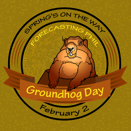 burrow: Groundhog Day. Vector Round label.