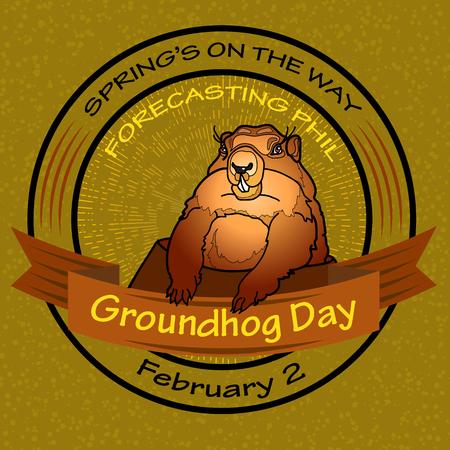 Groundhog Day. Vector Round label.