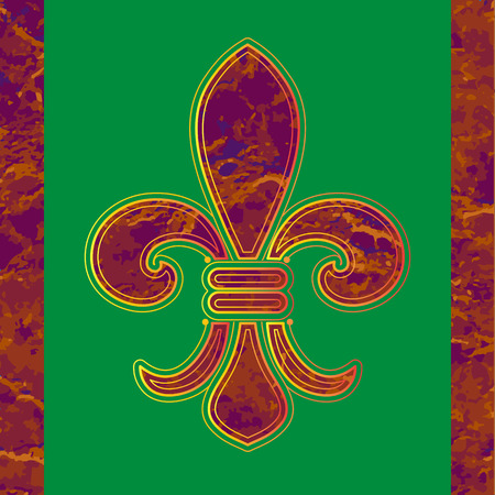french culture: Golden line Fleur-de-lis on a green background. Illustration