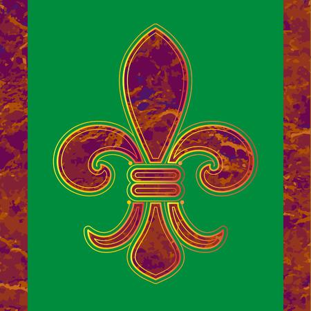 Golden line Fleur-de-lis on a green background. Illustration