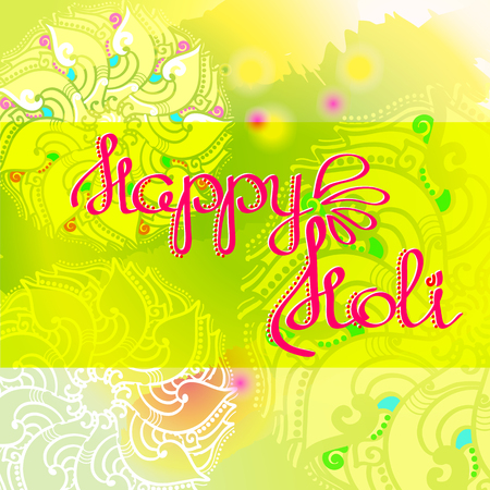 Happy Holi card with hand drawn words.