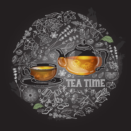 chamomile tea: Vector card with cup, pot, herb and text Tea Time. Illustration
