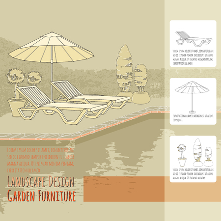 patio deck: Lounge chairs under patio and flowers in pot. Illustration