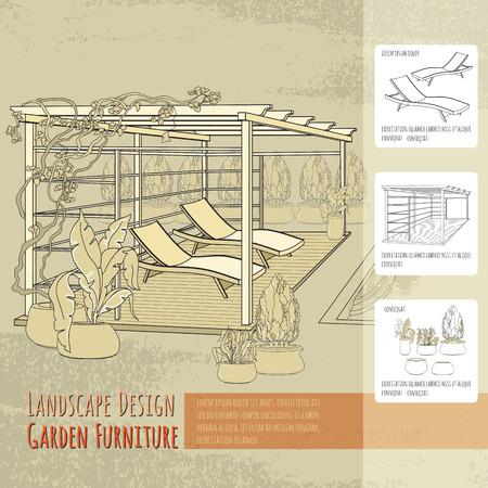 Lounge stoelen, terras, pergola en bloemen in pot. Vector Illustratie